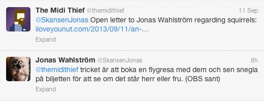 Jonas Wahlström's reply on Twitter (image)